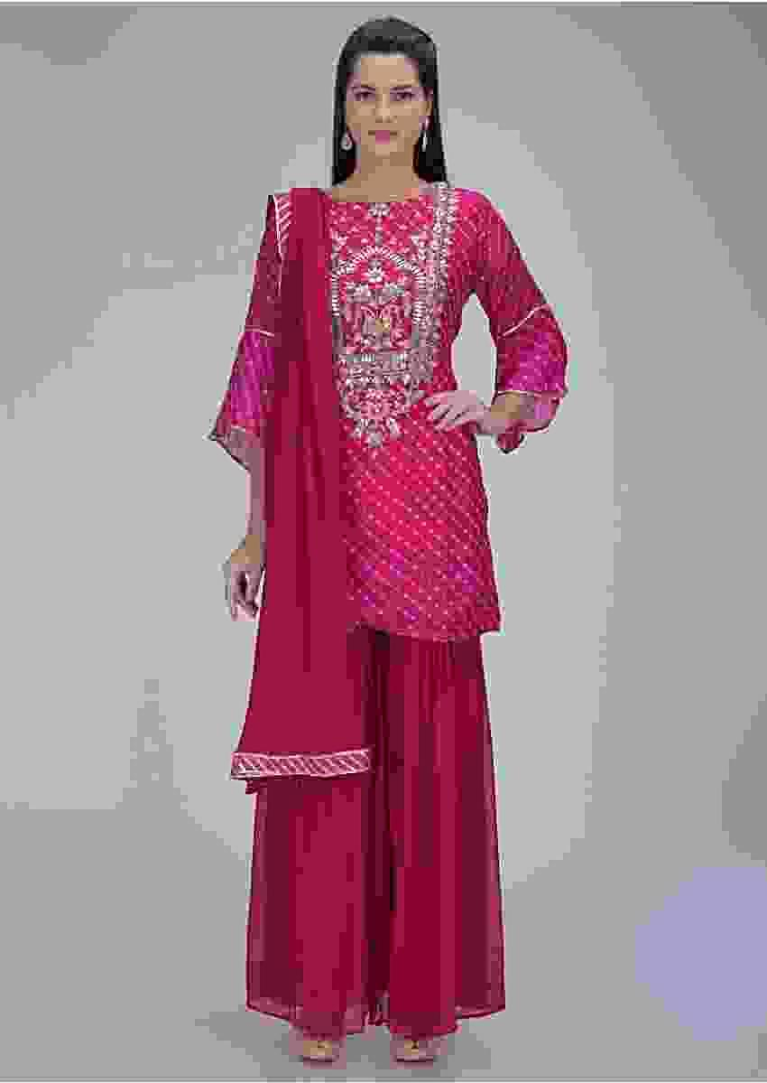 Magenta lehariya printed georgette suit with matching sharara and dupatta only on Kalki