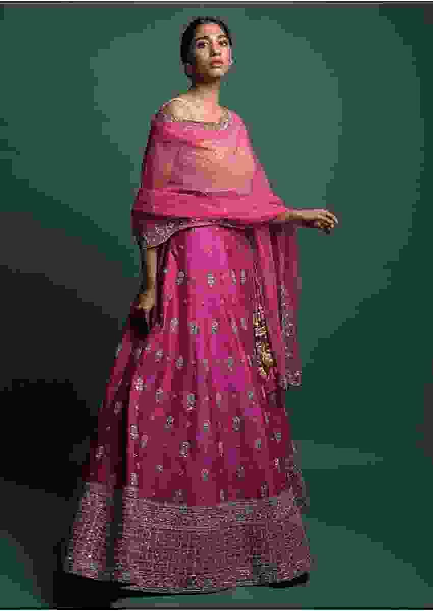 Magenta Lehenga In Raw Silk With Zardozi And Gotta Patch Embroidered Floral Buttis Online - Kalki Fashion