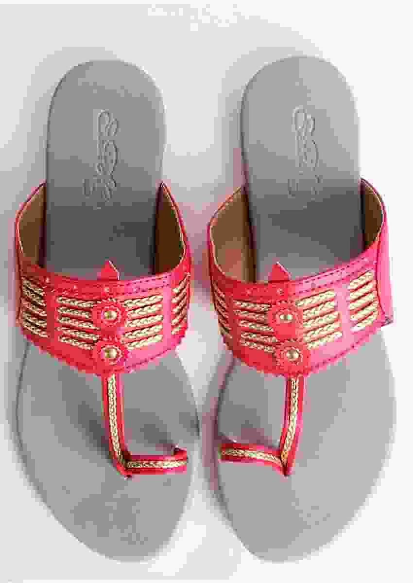 Magenta Multi Braid Kolhapuri With Light Grey Base By Sole House