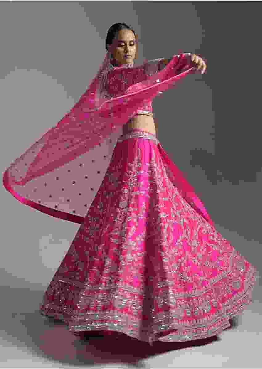 Magenta Pink Lehenga Choli In Raw Silk With Zardosi Work In Floral Motif And Mirror Embroidoidered Border  Online - Kalki Fashion