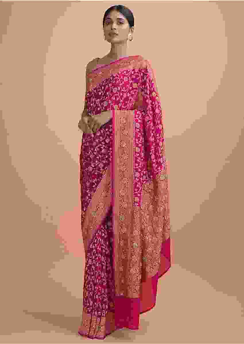 Magenta Pink Saree In Georgette With Weaved Floral Jaal And Embellishments Online - Kalki Online