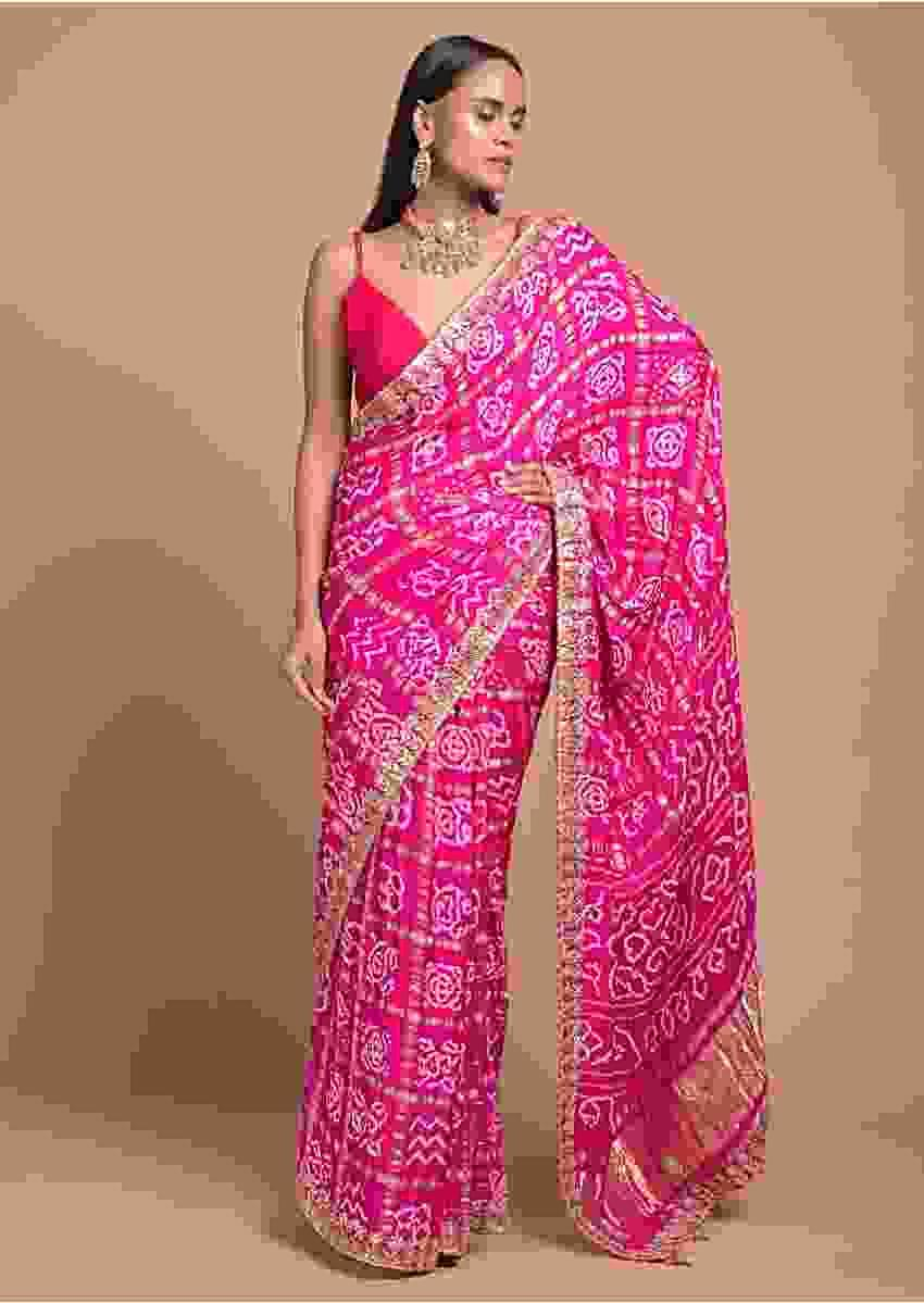 Magenta Pink Saree In Cotton With Bandhani All Over And Woven Zari Checks Online - Kalki Fashion