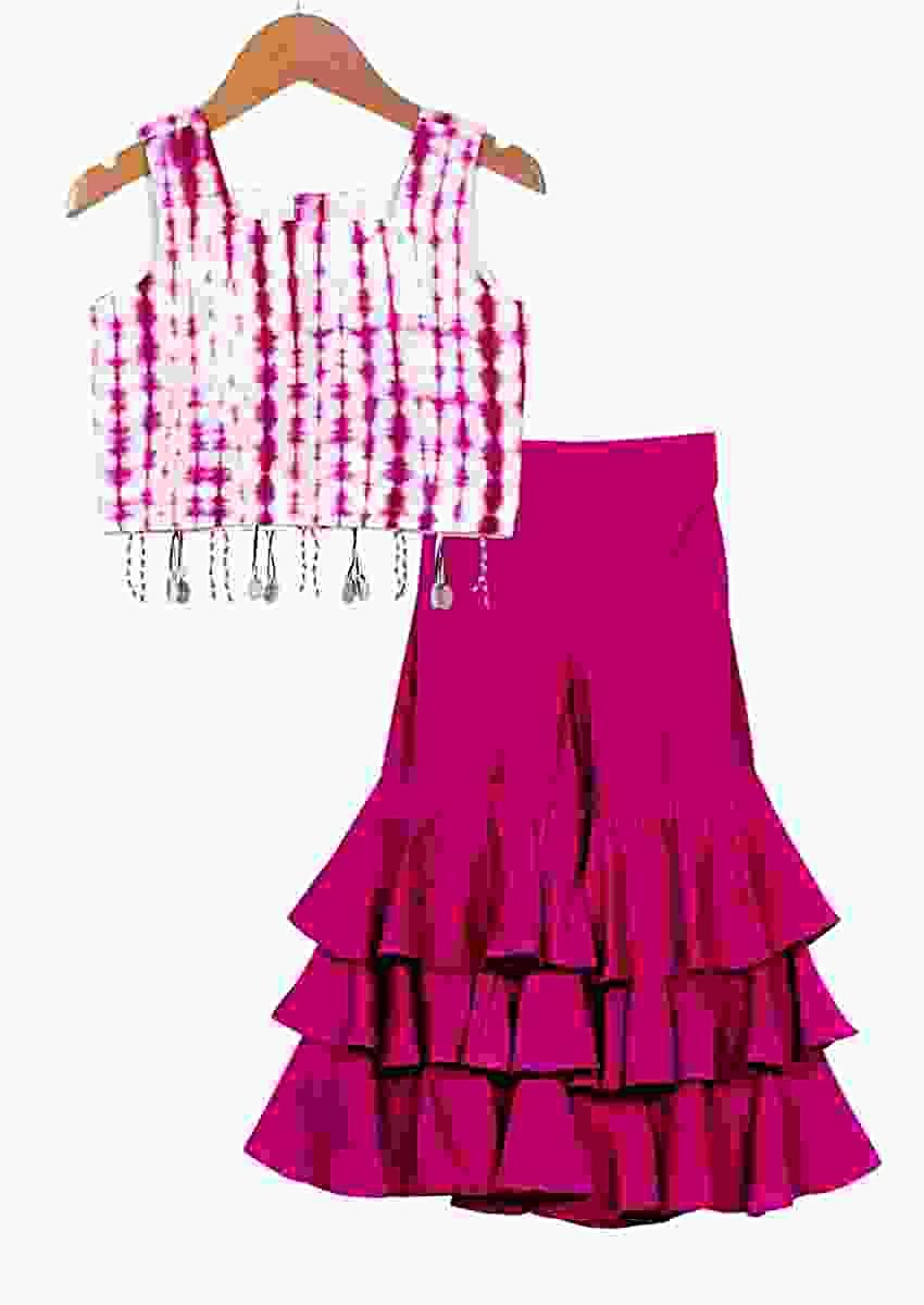 Magenta Purple Sharara Pants With Layered Frill And Tie-Dye Crop Top Online - Free Sparrow