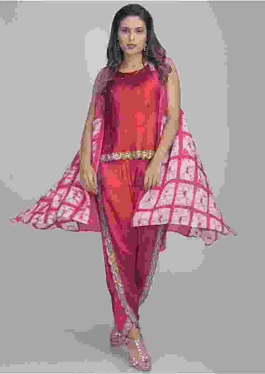 Magenta Dhoti Crop Top Set In Satin With Sleeveless Jacket Online - Kalki Fashion