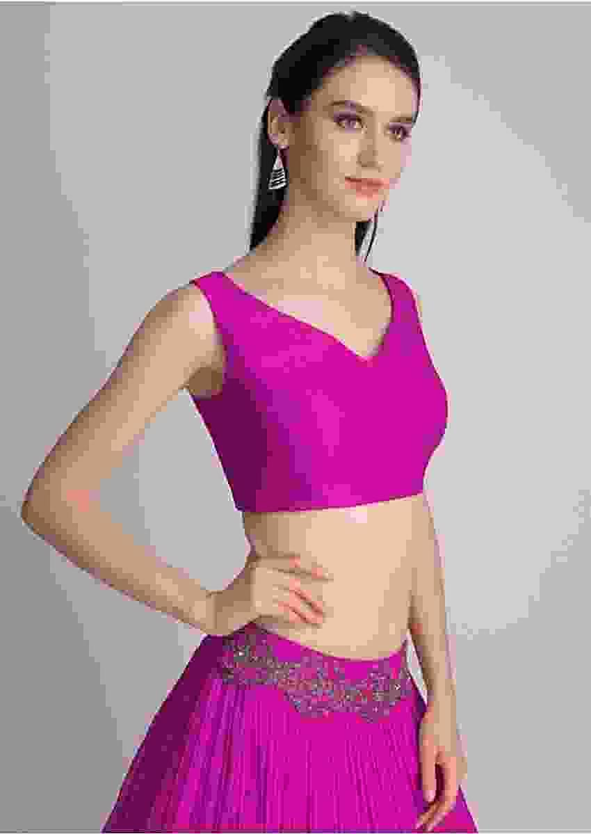 Magenta Sleeveless Blouse With Double Tie Up Tassel Dori At The Back Online - Kalki Fashion