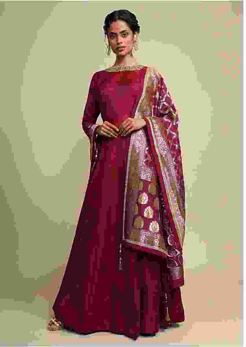 Maroon Anarkali Suit In Silk With A Banarasi Brocade Dupatta Adorned In Cutdana And Kundan Work Online - Kalki Fashion