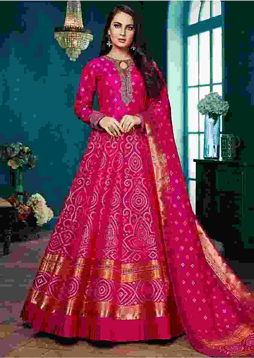 Magenta Anarkali Suit In Silk WIth Weaved Bandhani Pattern All Over Online - Kalki Fashion