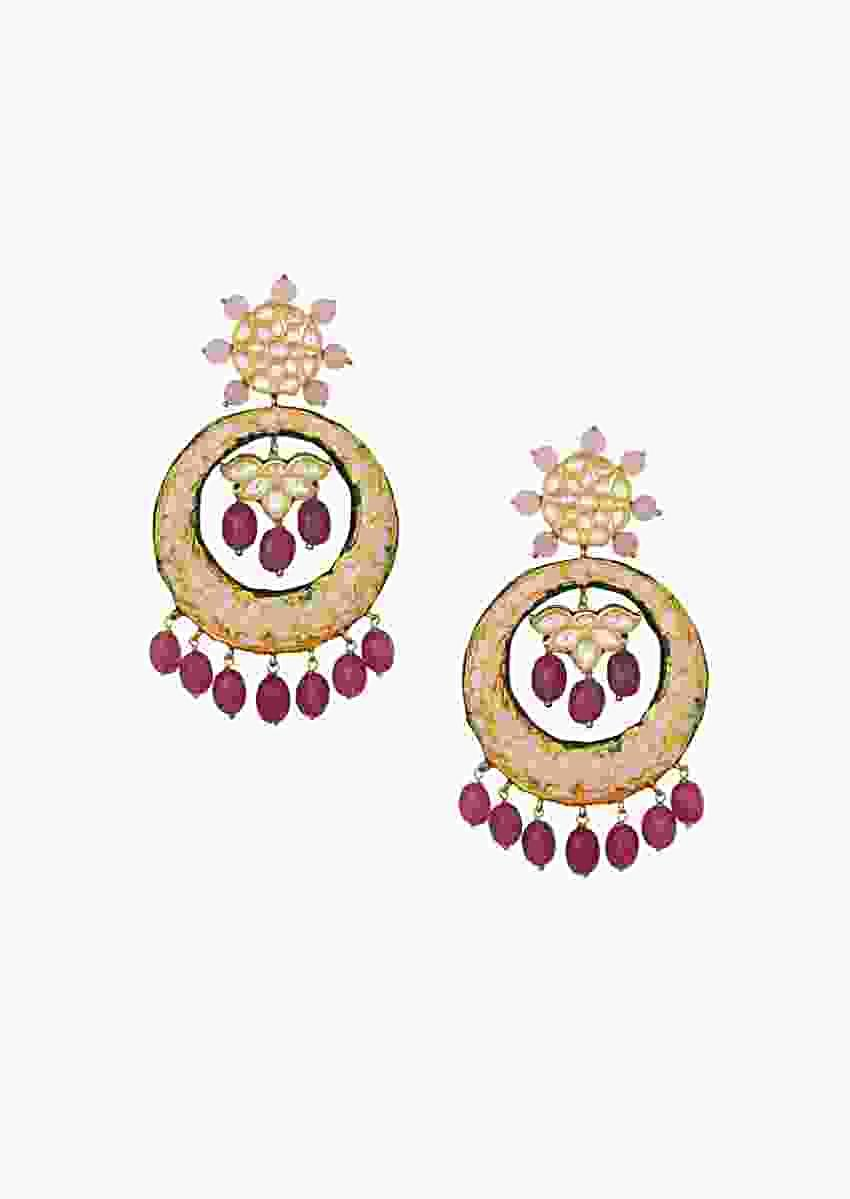 Magnificent Round Kundan Earrings With Gold Enamel Work And Hydro Ruby Drops Online - Joules By Radhika