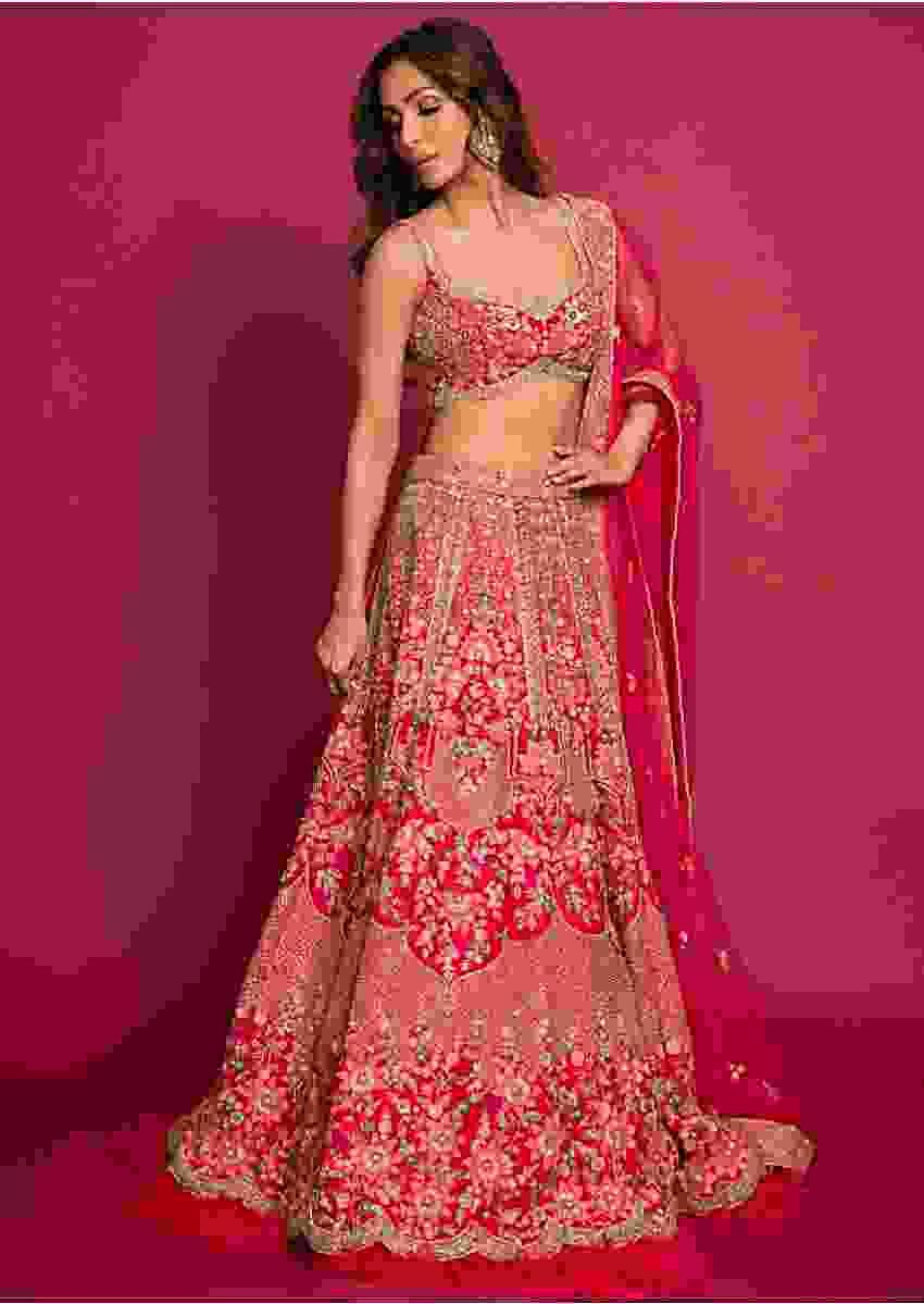Malaika Arora in Kalki french pink raw silk heavy embroidered lehenga with net ruching