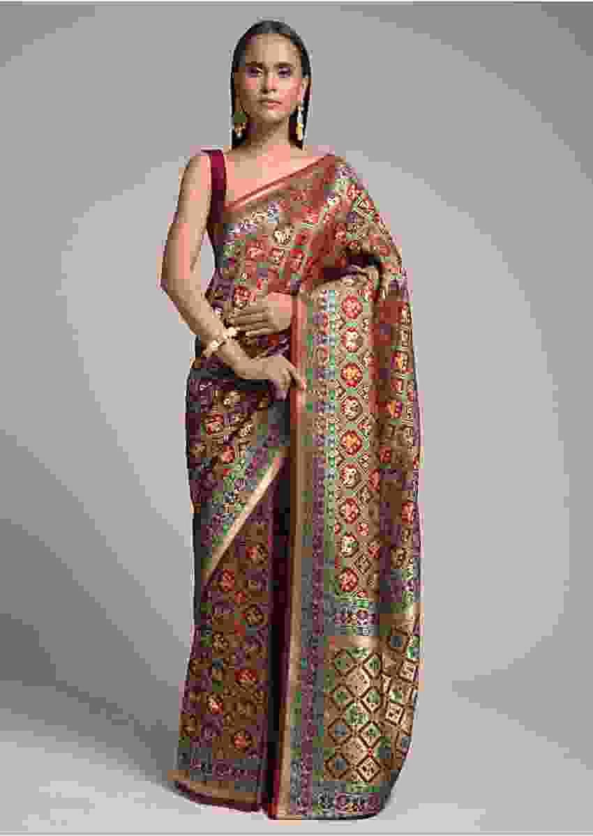 Maroon Banarasi Saree In Silk With Colorful Woven Patola Jaal Online - Kalki Fashion