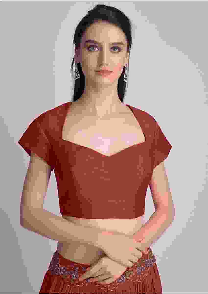 Maroon Blouse With Deep Sweet Heart Neck And Cap Sleeves Online - Kalki Fashion