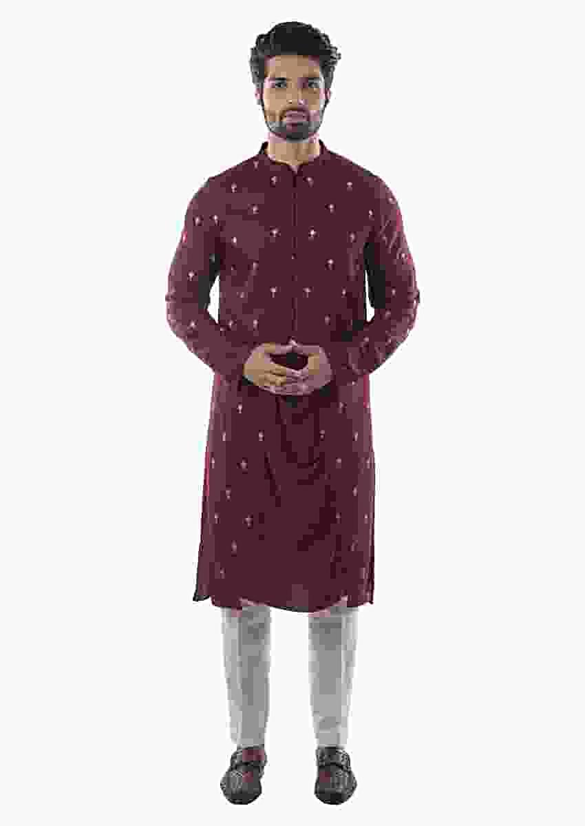 Maroon Centre Drape Kurta With Symmetrical Embroidered Panels And Cream Pants Online - Kalki Fashion