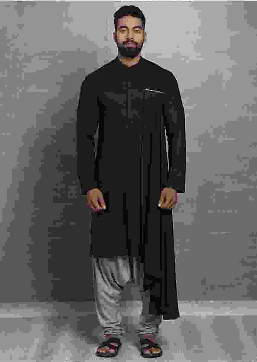 Black Cotton Kurta Additional Draped Layer Online - Kalki Fashion
