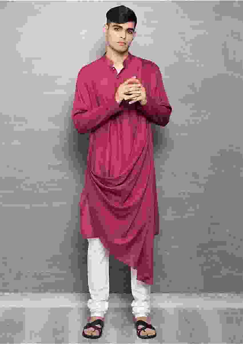 Maroon Cowl Drape Kurta In Cotton Online - Kalki Fashion