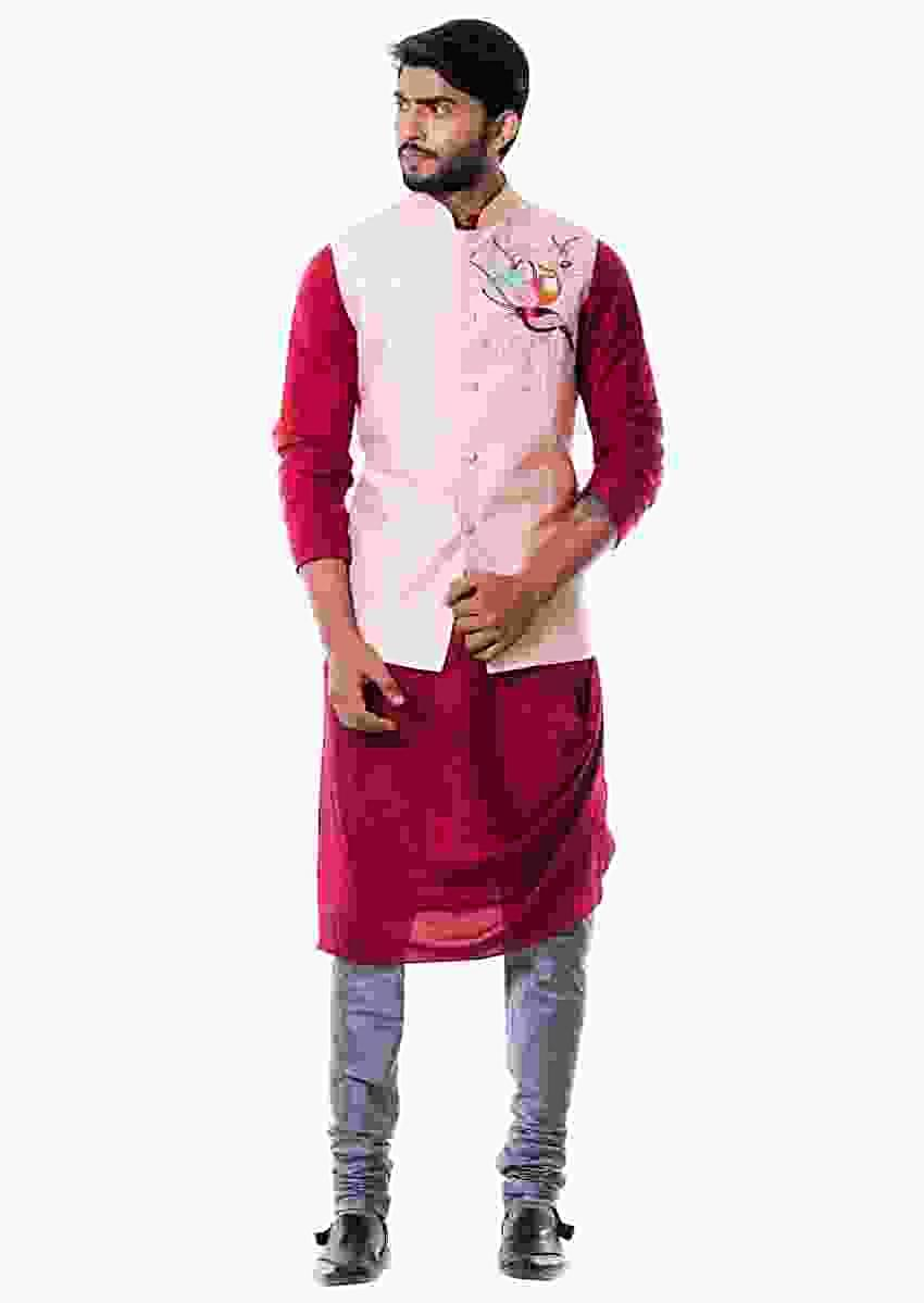 Maroon Cowl Kurta And Grey Churidar With Pink Waist Coat Set Online - Kalki Fashion