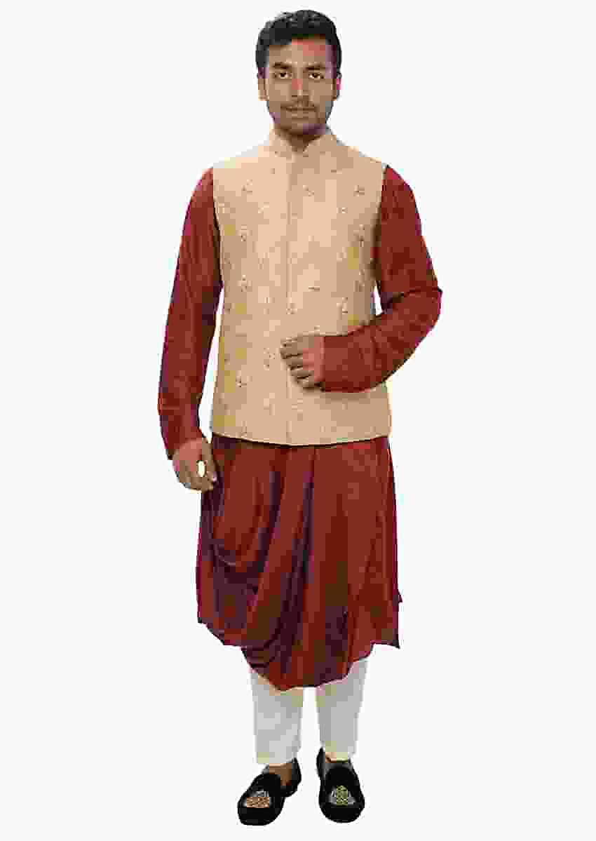 Maroon Cowl Kurta Set Paired With A Royal Beige Hand Embroidered Jacket Online - Kalki Fashion
