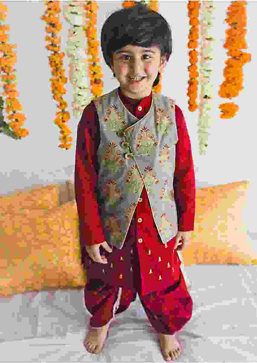 Maroon Dhoti Set With Reversible Jacket By Tiber Taber