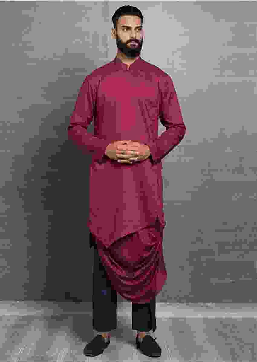 Maroon Kurta In Cotton With Fancy Cowl Drape Online - Kalki Fashion