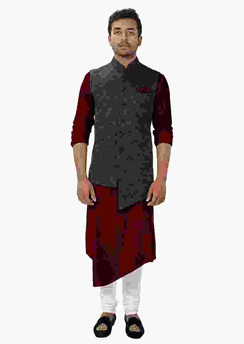 Maroon Front Slit Kurta Set Paired With A Black Paisley Self Embroidered Asymmetrical Jacket Online - Kalki Fashion