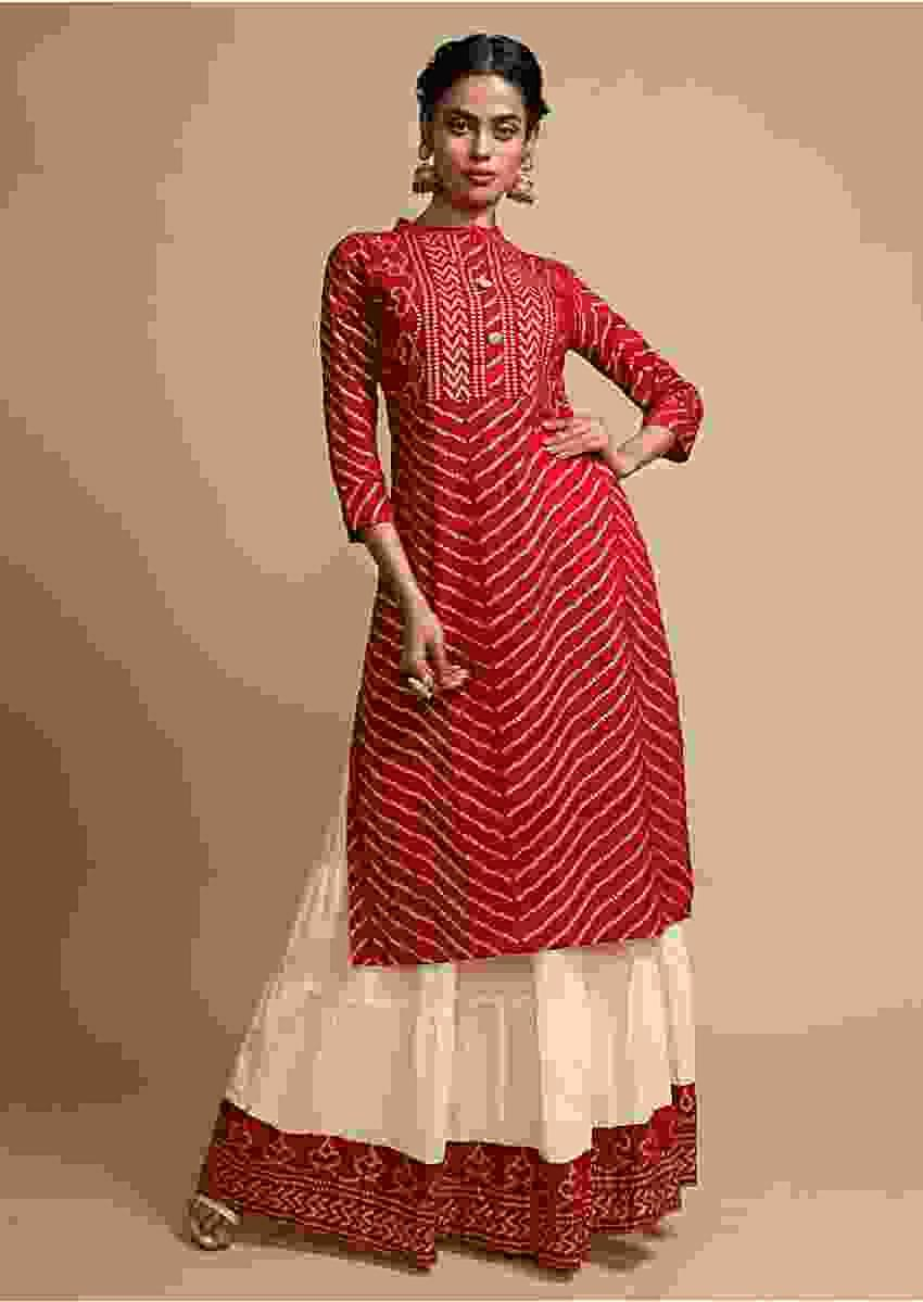 Maroon Kurti Set With Bandhani Foil Printed Chevron Design And Off White Skirt Online - Kalki Fashion