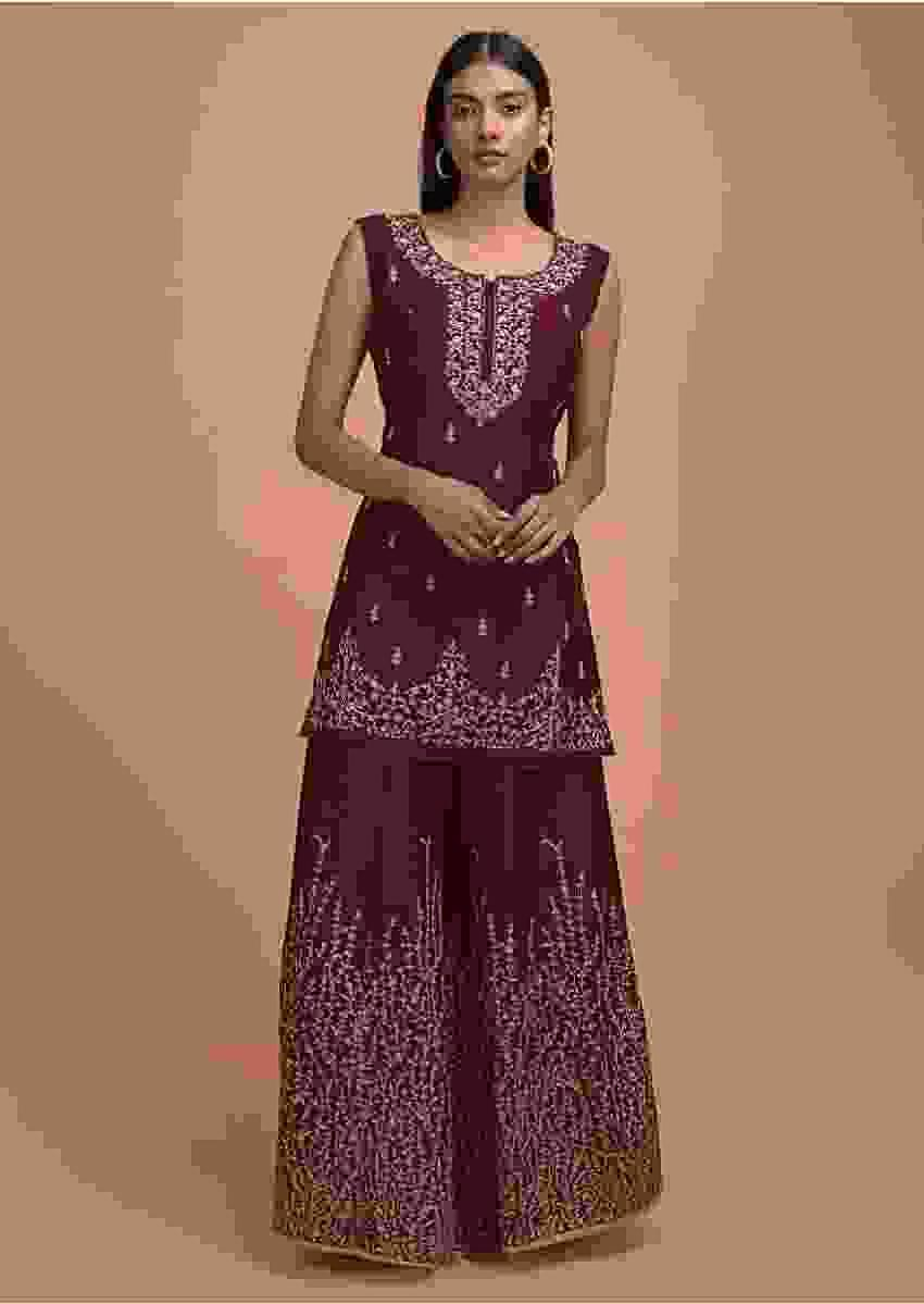Maroon Palazzo Suit In Raw Silk With Zari And Kundan Embellished Buttis And Border Online - Kalki Fashion