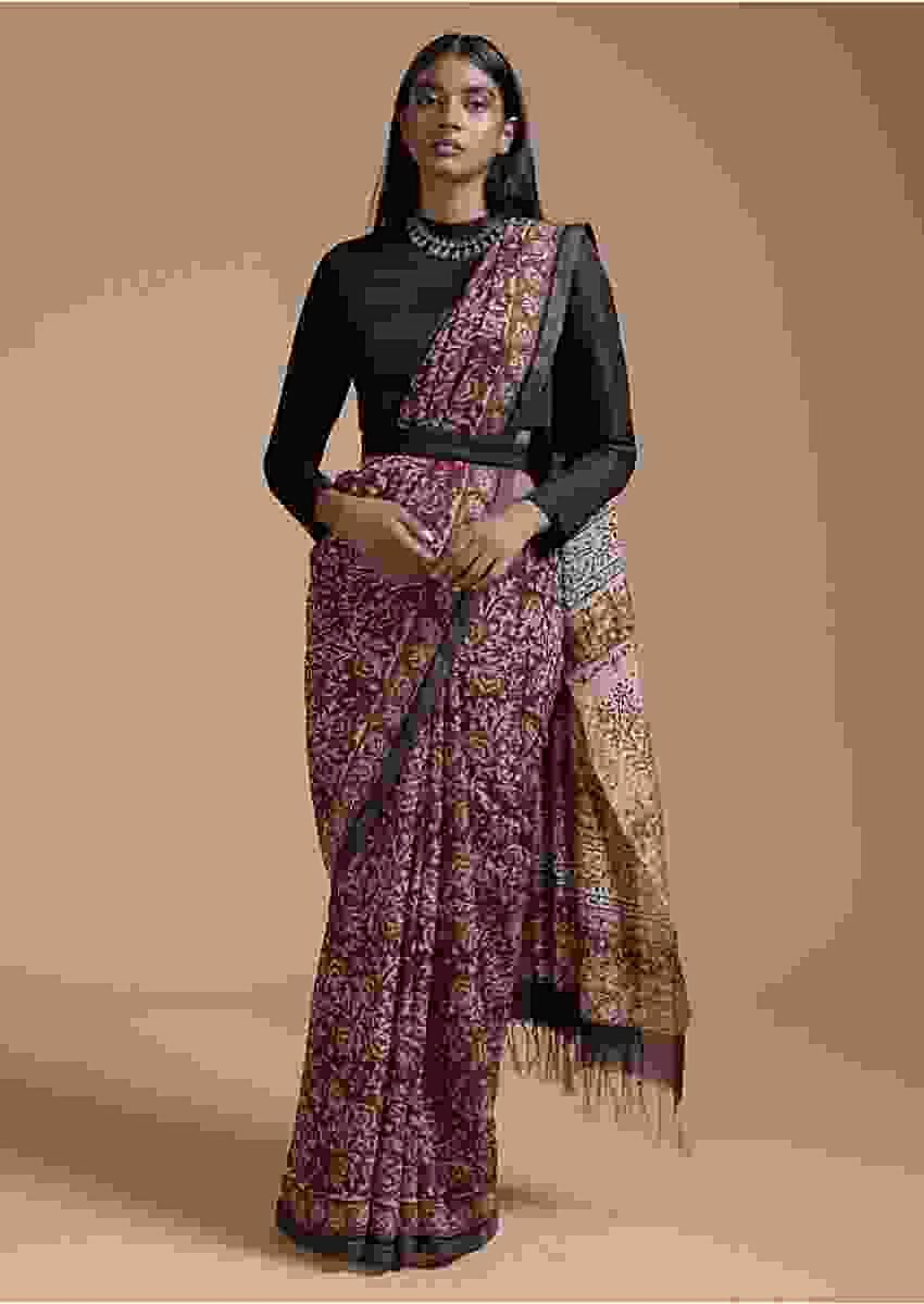 Maroon Saree In Cotton With Batik Printed Floral Jaal Design Online - Kalki Fashion