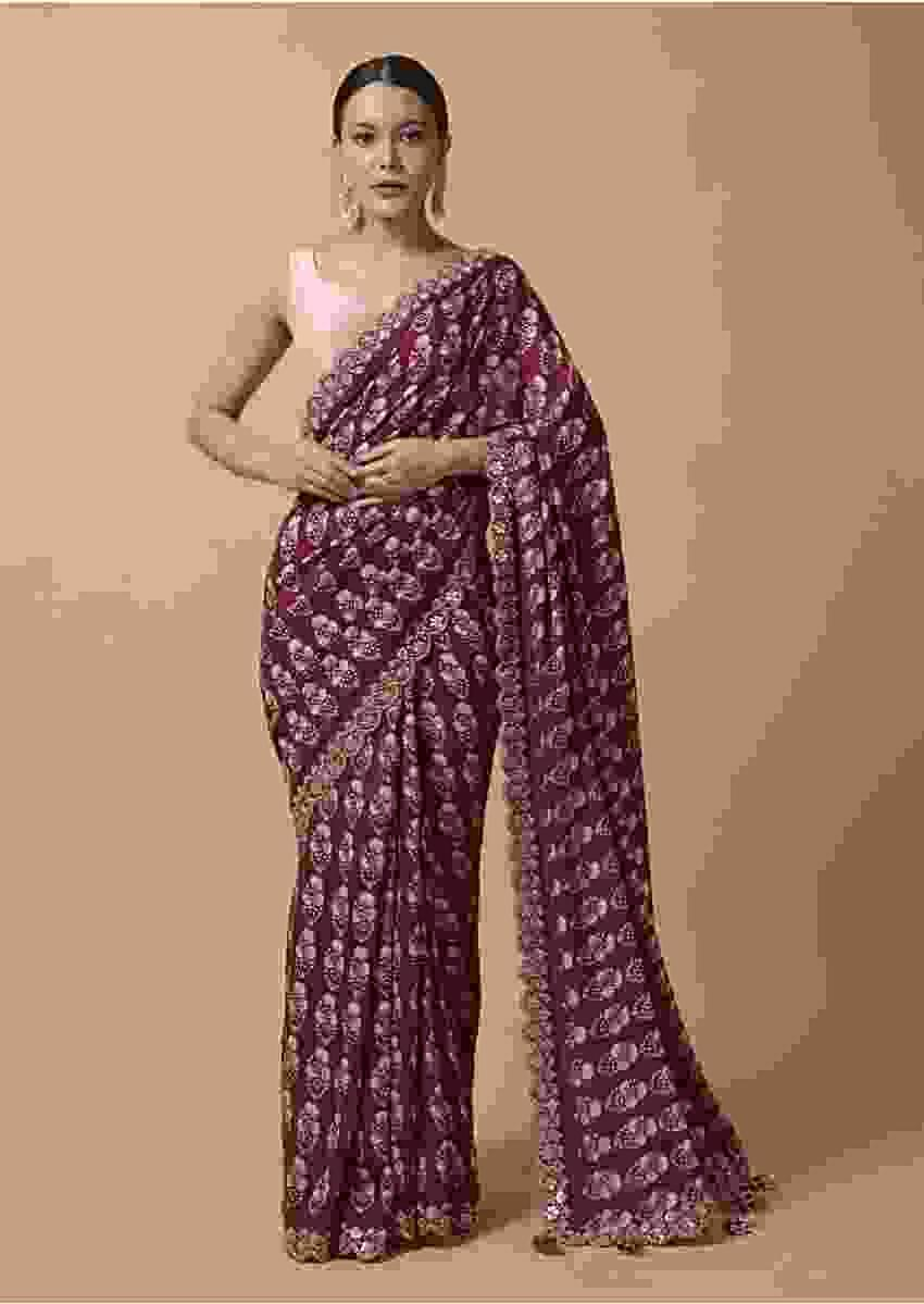 Maroon Saree In Cotton With Floral Printed Buttis And Gotta Embroidered Border Online - Kalki Fashion
