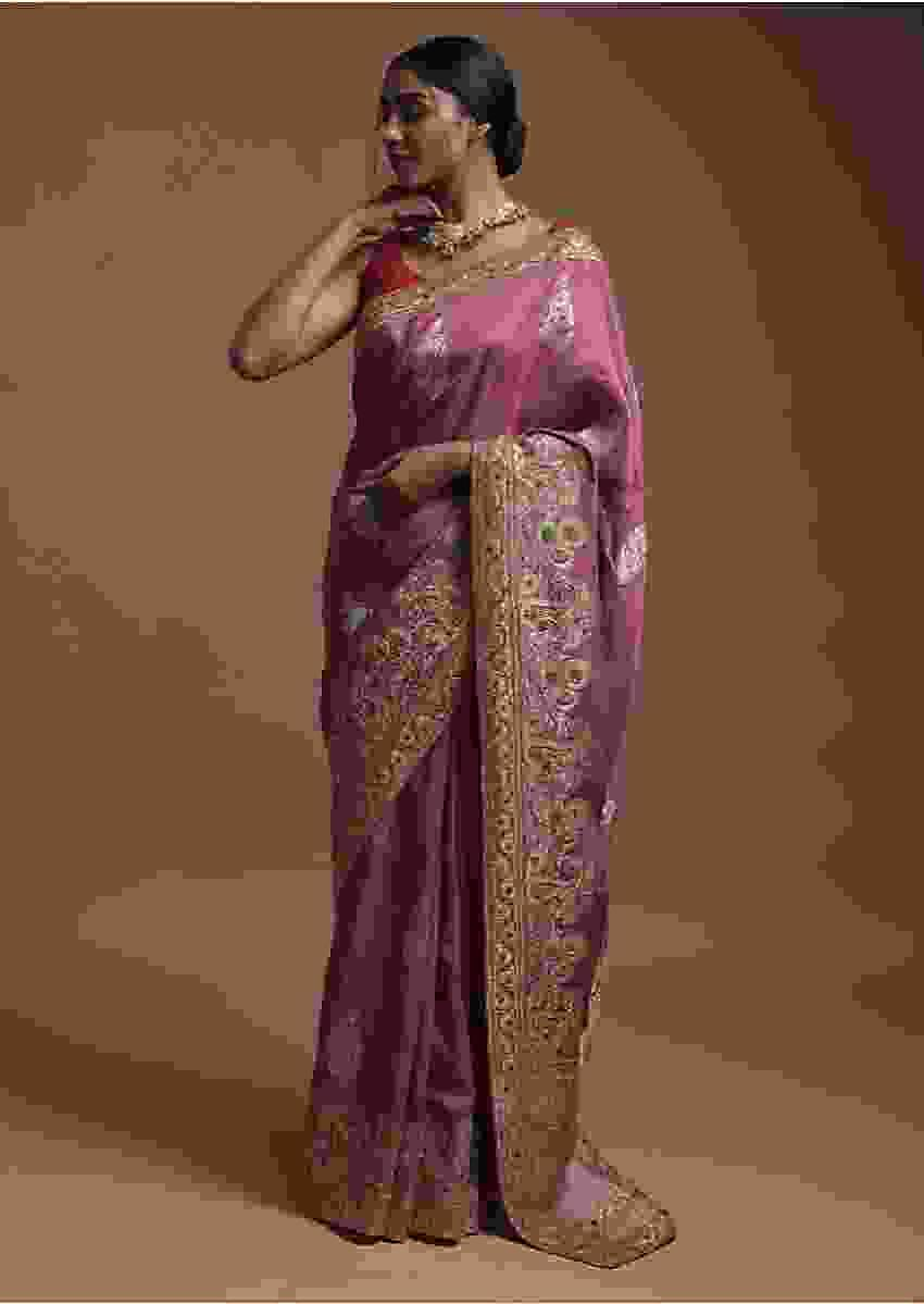 Mauve Banarasi Saree In Cotton Silk With Weaved Floral Motifs And Colorful Thread Embroidery Online - Kalki Fashion