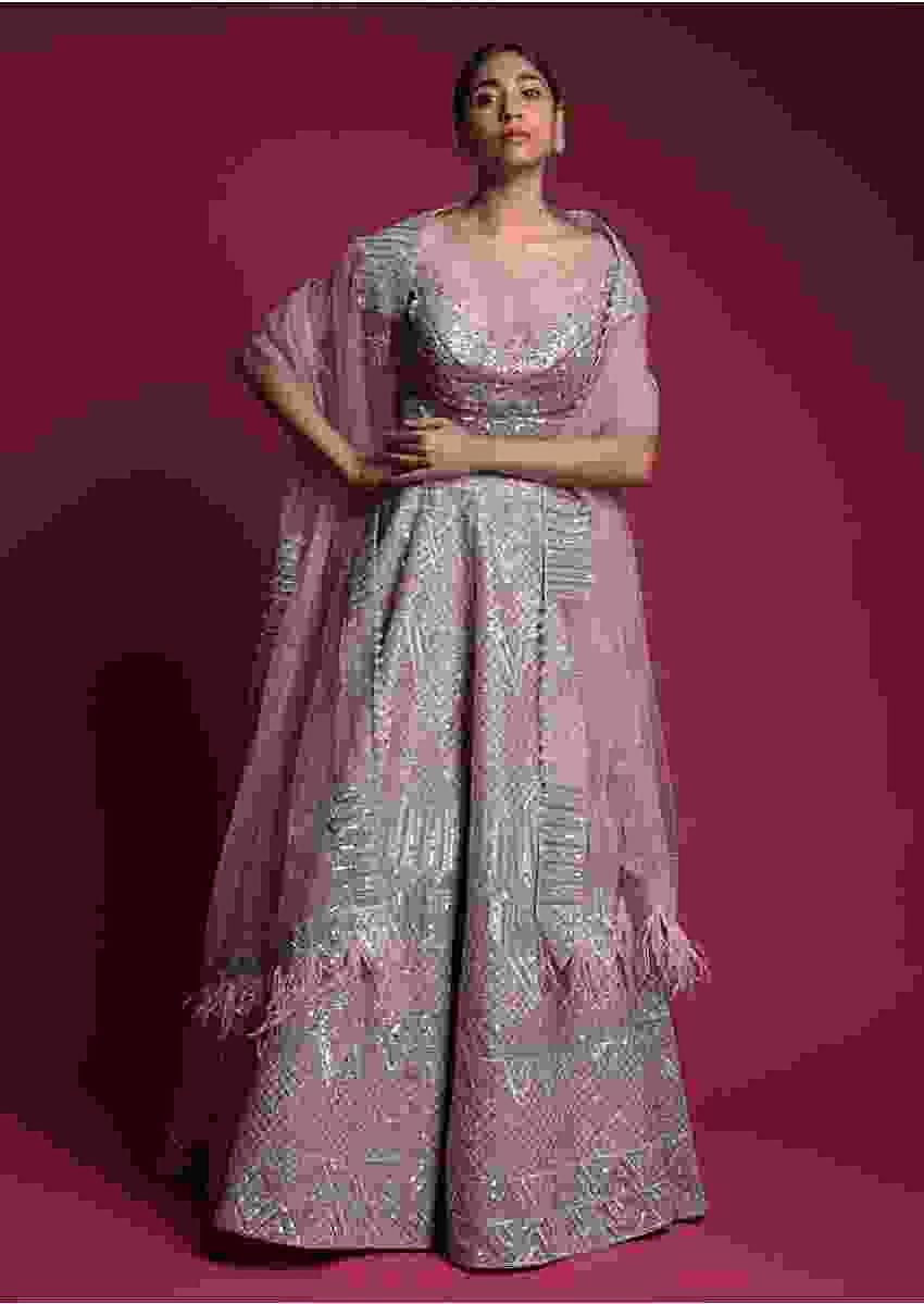 Mauve Lehenga Choli In Organza With Matching Dupatta Having Feathers On The Border Online - Kalki Fashion