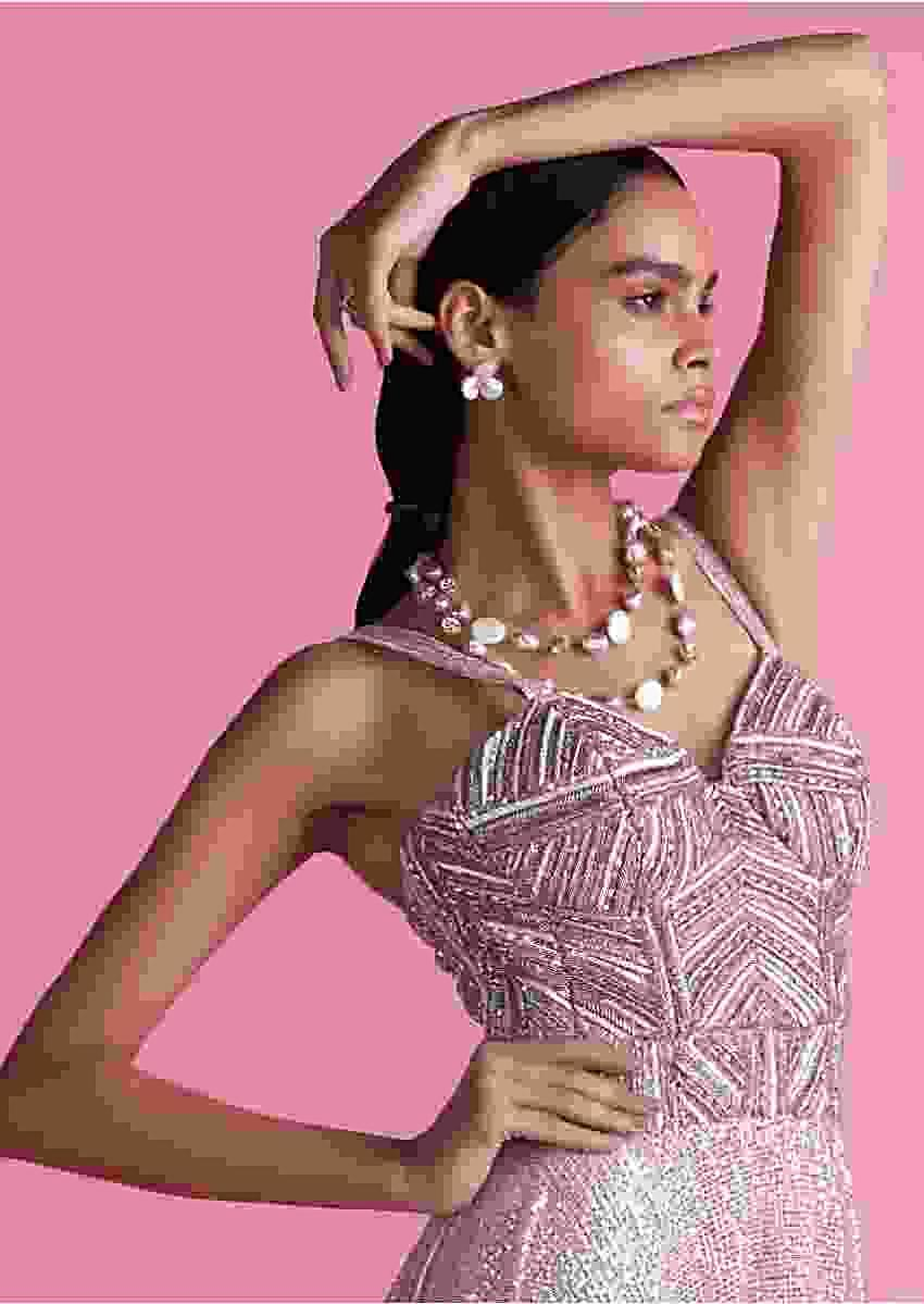 Mauve Pink Halter Neck Jumpsuit In Sequins Fabric With Attached Collar Belt Online - Kalki Fashion