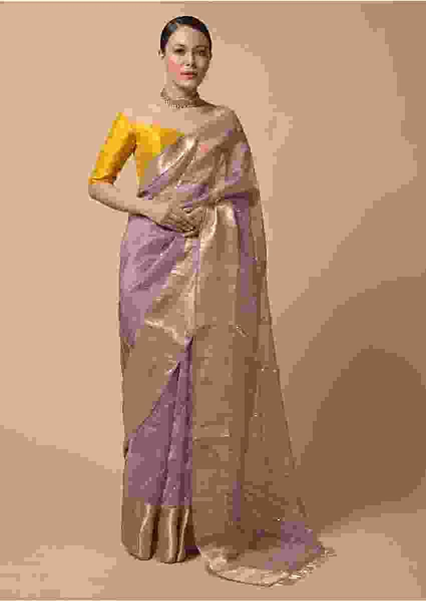 Mauve Saree In Organza With Zardosi And Mirror Embroidered Striped Design Online - Kalki Fashion