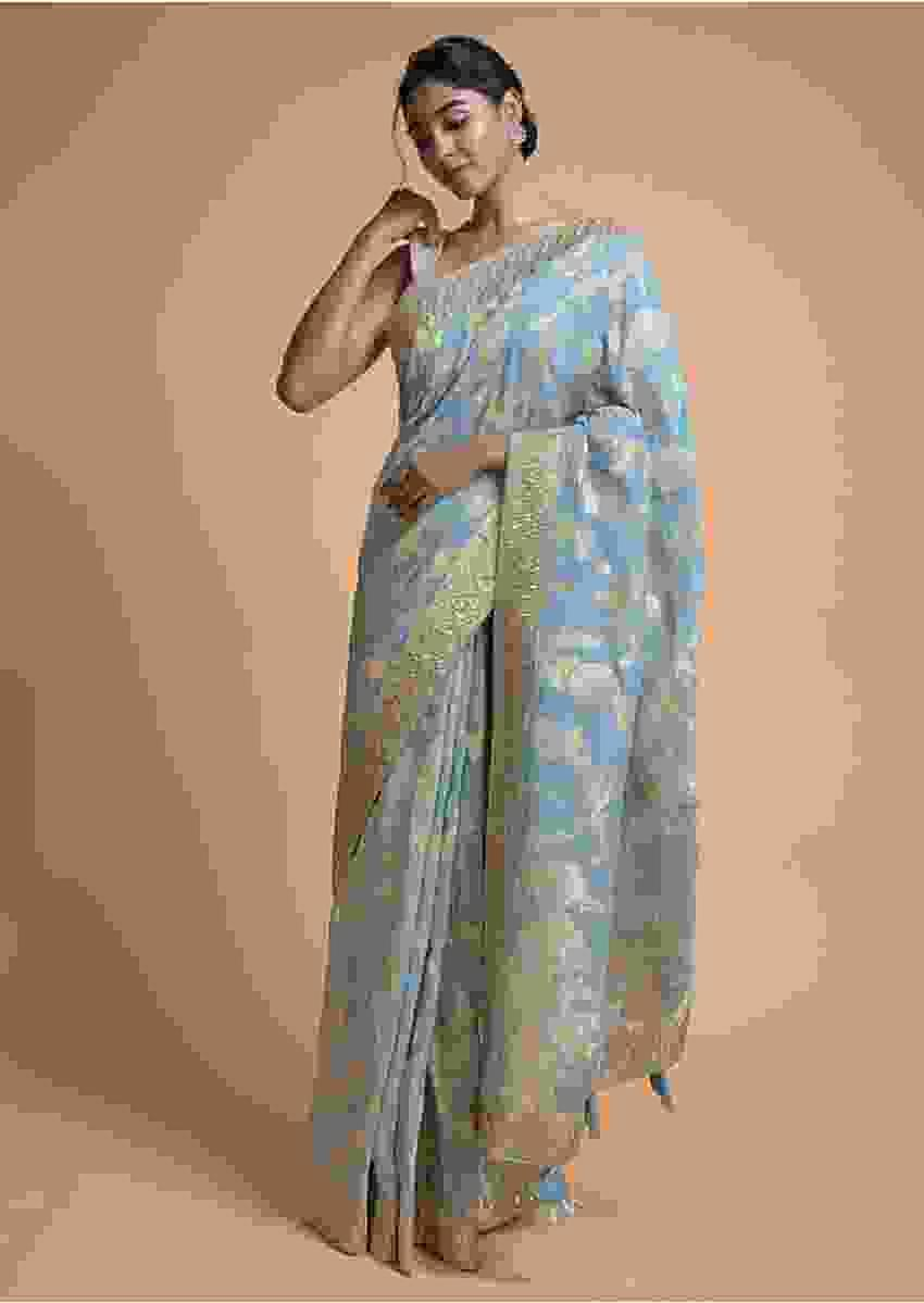 Maya Blue Banarasi Saree In Georgette With Weaved Floral Jaal Online - Kalki Fashion