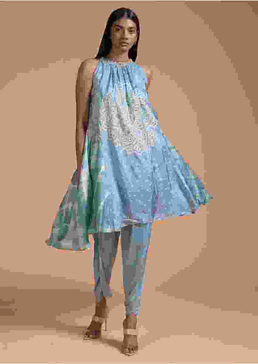 Maya Blue Dhoti Suit With Bandhani Printed Mandala Design And Lehariya On The Side Online - Kalki Fashion