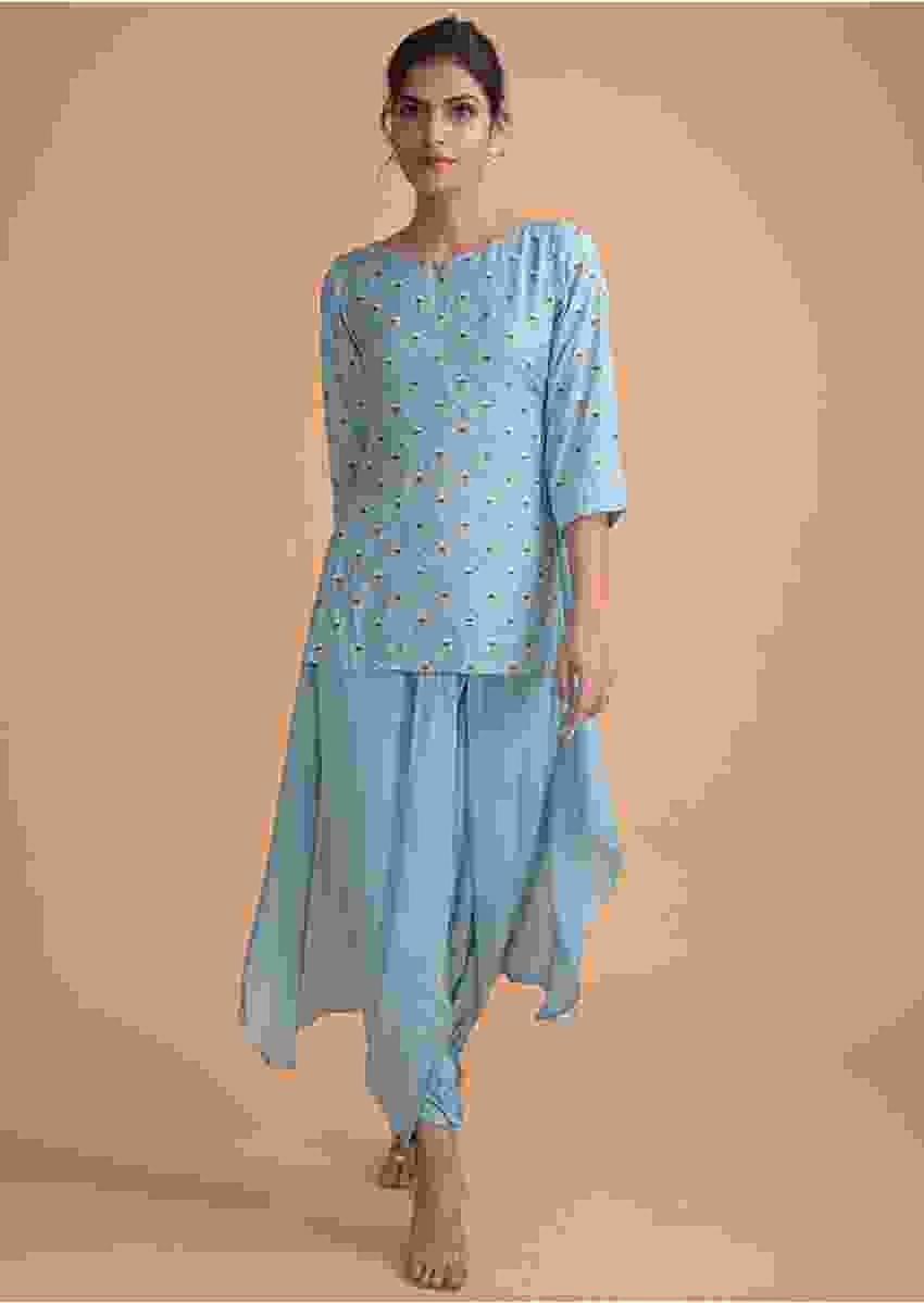 Maya Blue Kurta With High Low Hemline And Dhoti Pants Online - Kalki Fashion