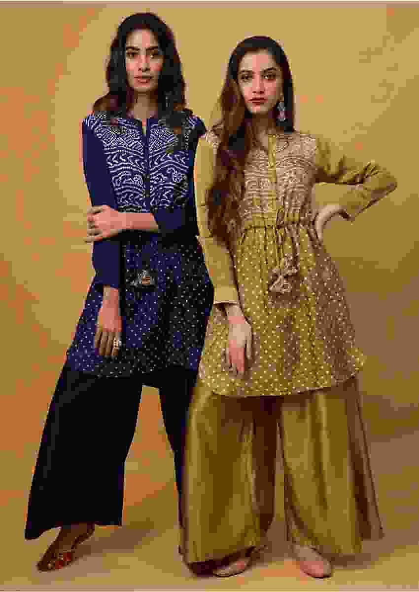 Mehendi Gold Palazzo Suit With Real Bandhani Kurta Online - Kalki Fashion