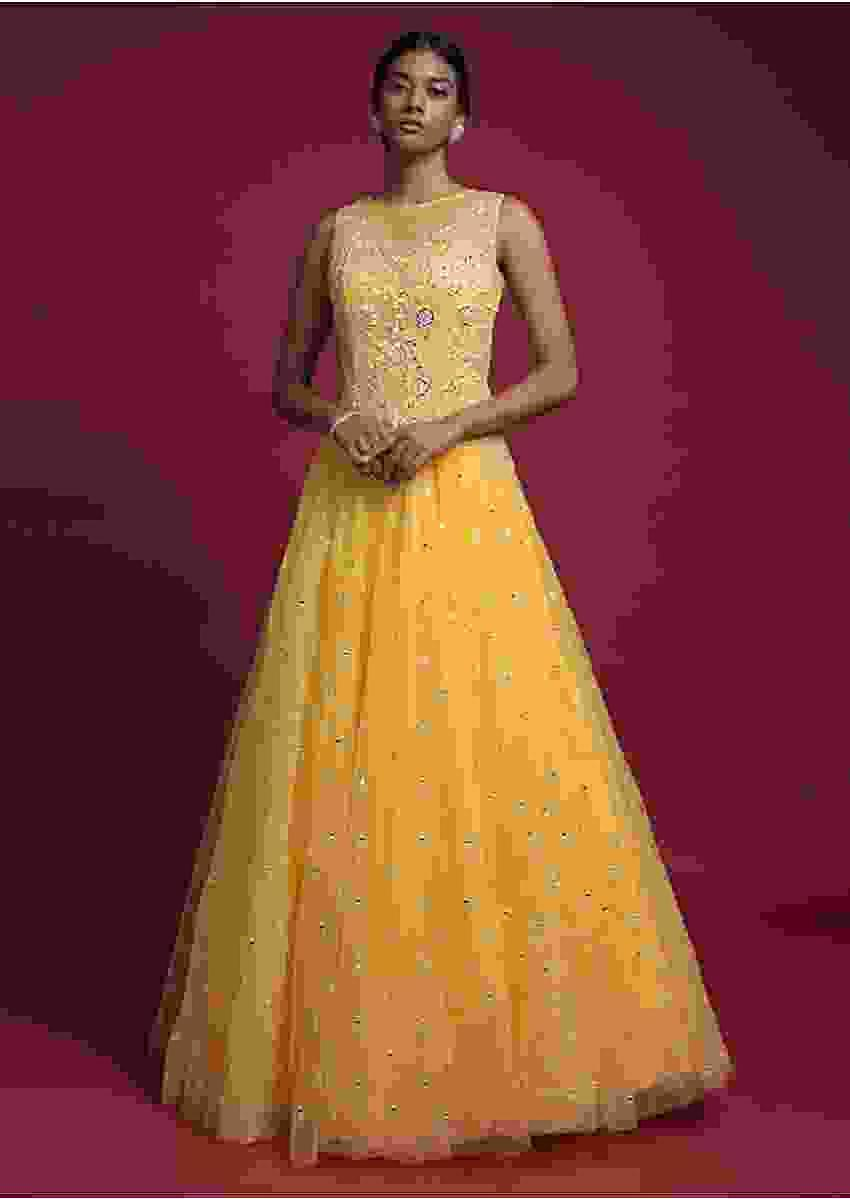 Mellow Yellow Ball Gown In Net With Mirror Abla Embroidery Online - Kalki Fashion