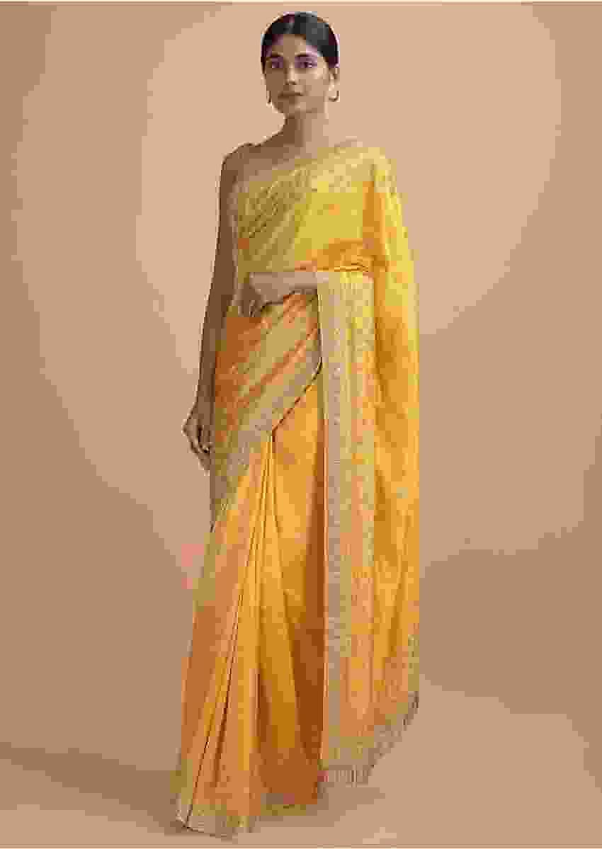 Mellow Yellow Saree In Cotton Silk With Salli Fringes On The Pallu And Buttis Online - Kalki Online