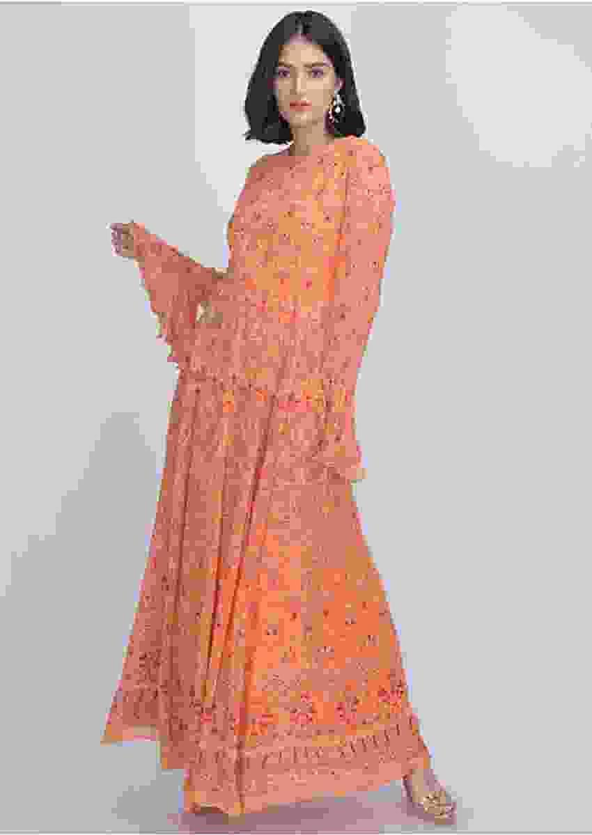 Melon Orange Anarkali Suit In Georgette With Tribal Print Online - Kalki Fashion