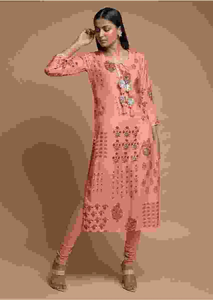 Melon Peach Kurti In Cotton Blend With Printed Floral Motifs Online - Kalki Fashion