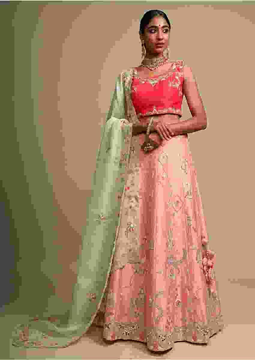 Melon Peach Lehenga Set With Thread, Zardozi And Mirror Embroidered Modern Birds And Floral Motifs Online - Kalki Fashion