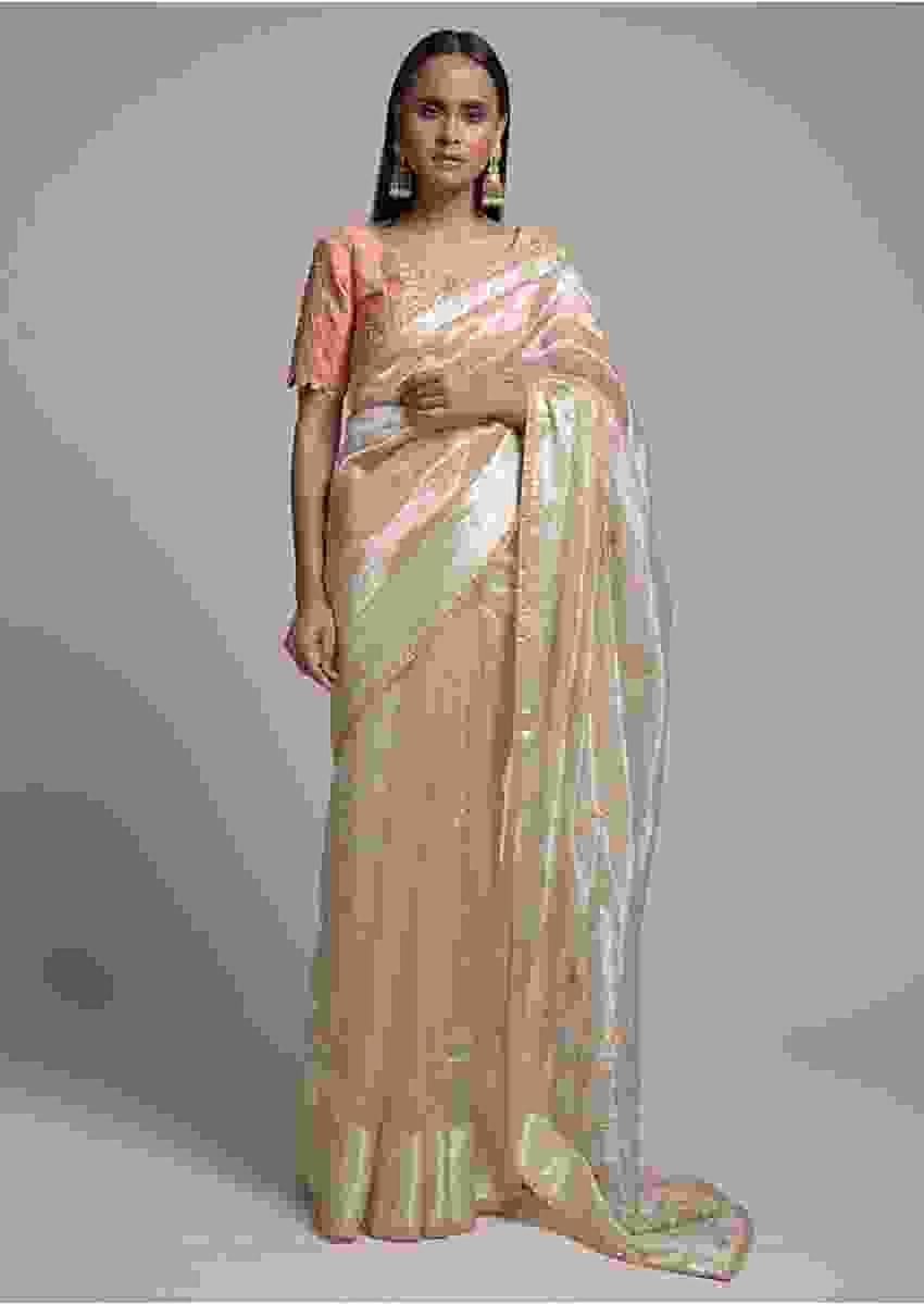 Metallic Beige Saree In Organza With Embroidered Floral Buttis Online - Kalki Fashion