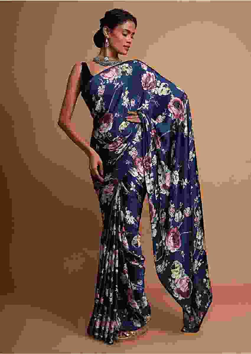 Midnight blue floral digital printed saree along  with kundan work Online - Kalki Fashion