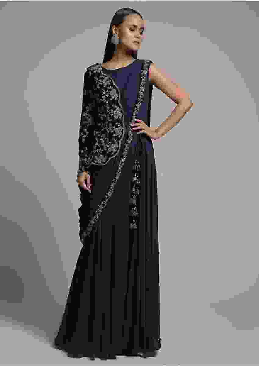 Midnight Blue Indowestern Gown With Drape And Attached Embroidered Half Jacket Online - Kalki Fashion