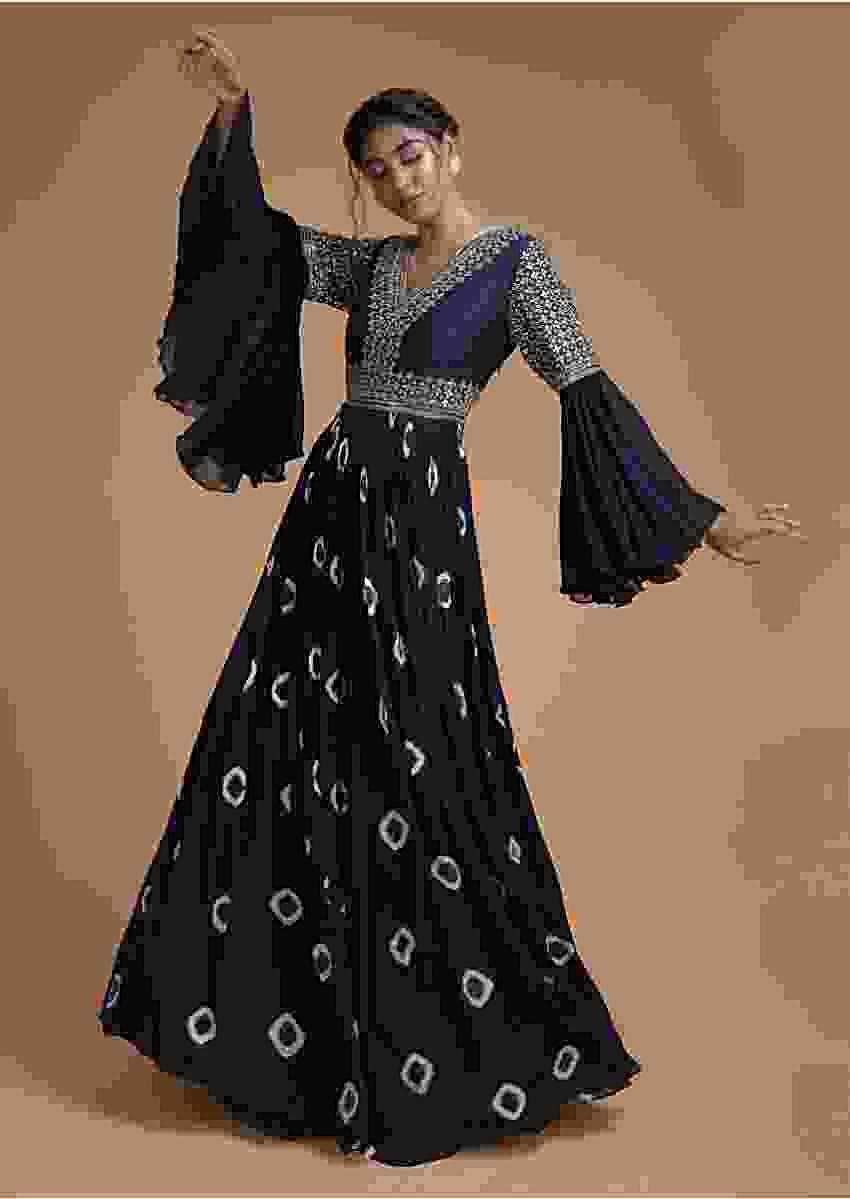 Midnight Blue Indowestern Gown With Tie Dye Printed Buttis And Mirror Work Online - Kalki Fashion
