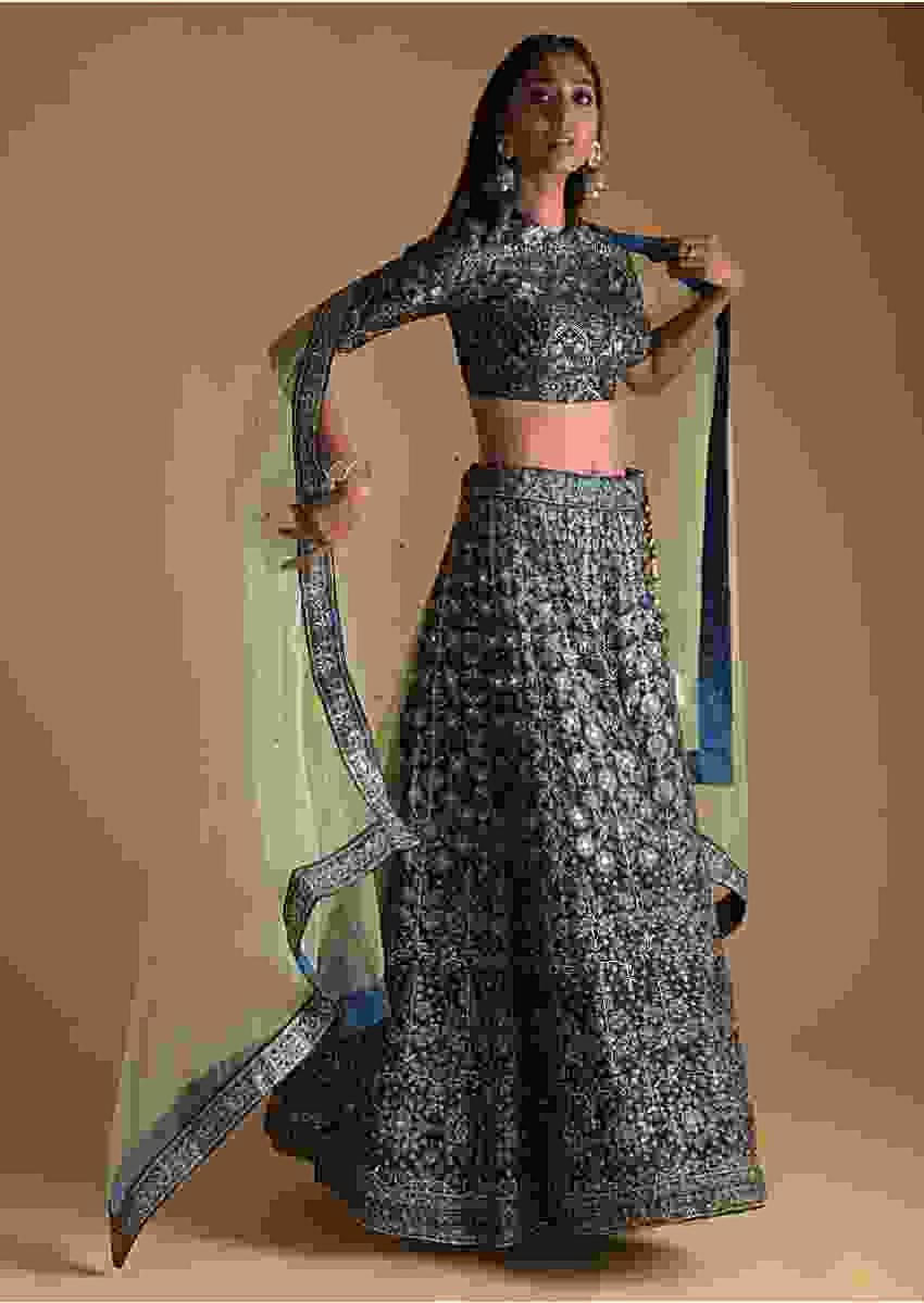 Midnight Blue Lehenga Choli In Silk With Foil Printed Floral Motifs And Zari Accents Online - Kalki Fashion