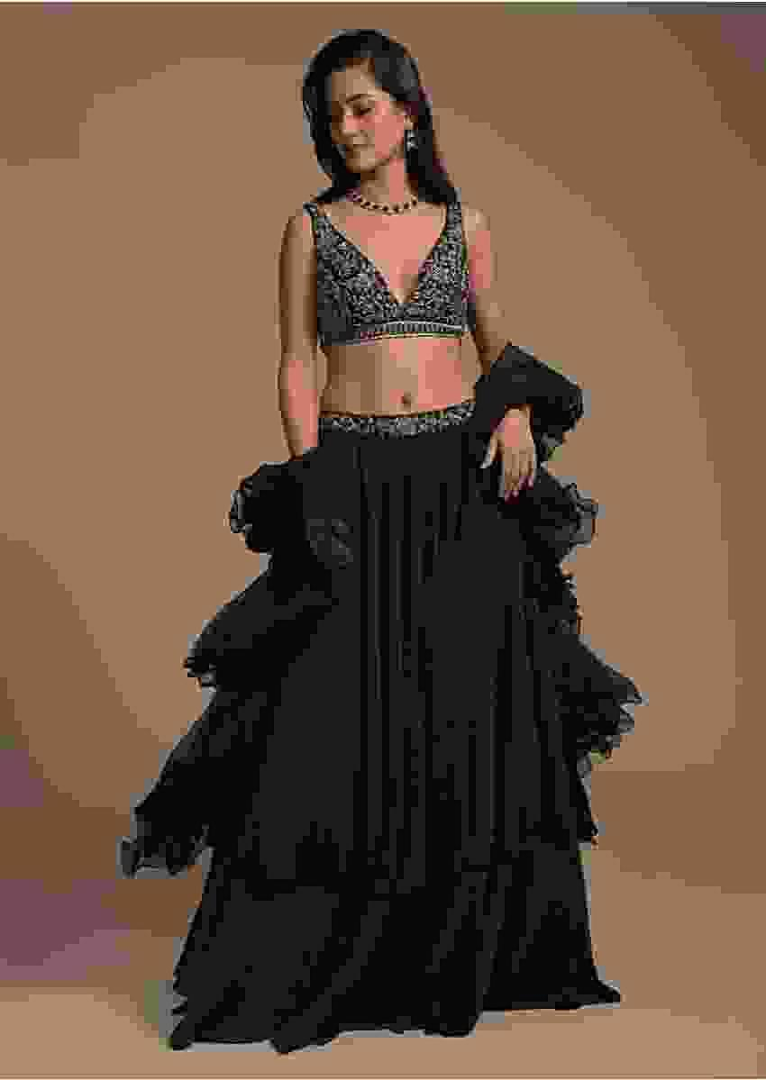 Midnight Blue Plain Lehenga And A Cut Dana Embellished Blouse With Plunging Sweetheart Neckline Online - Kalki Fashion