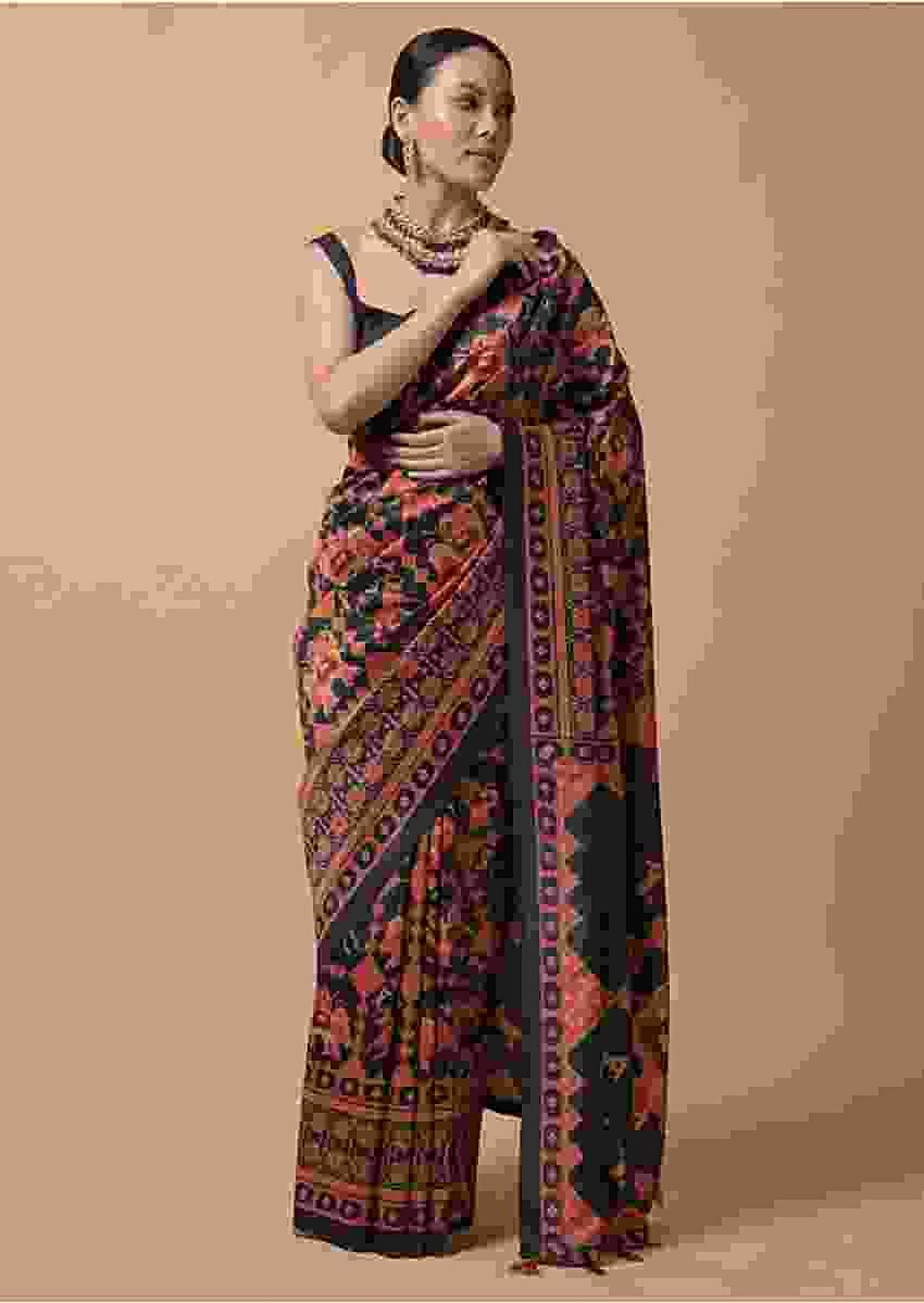 Midnight Blue Saree In Silk With Printed Patola Jaal Design Online - Kalki Fashion