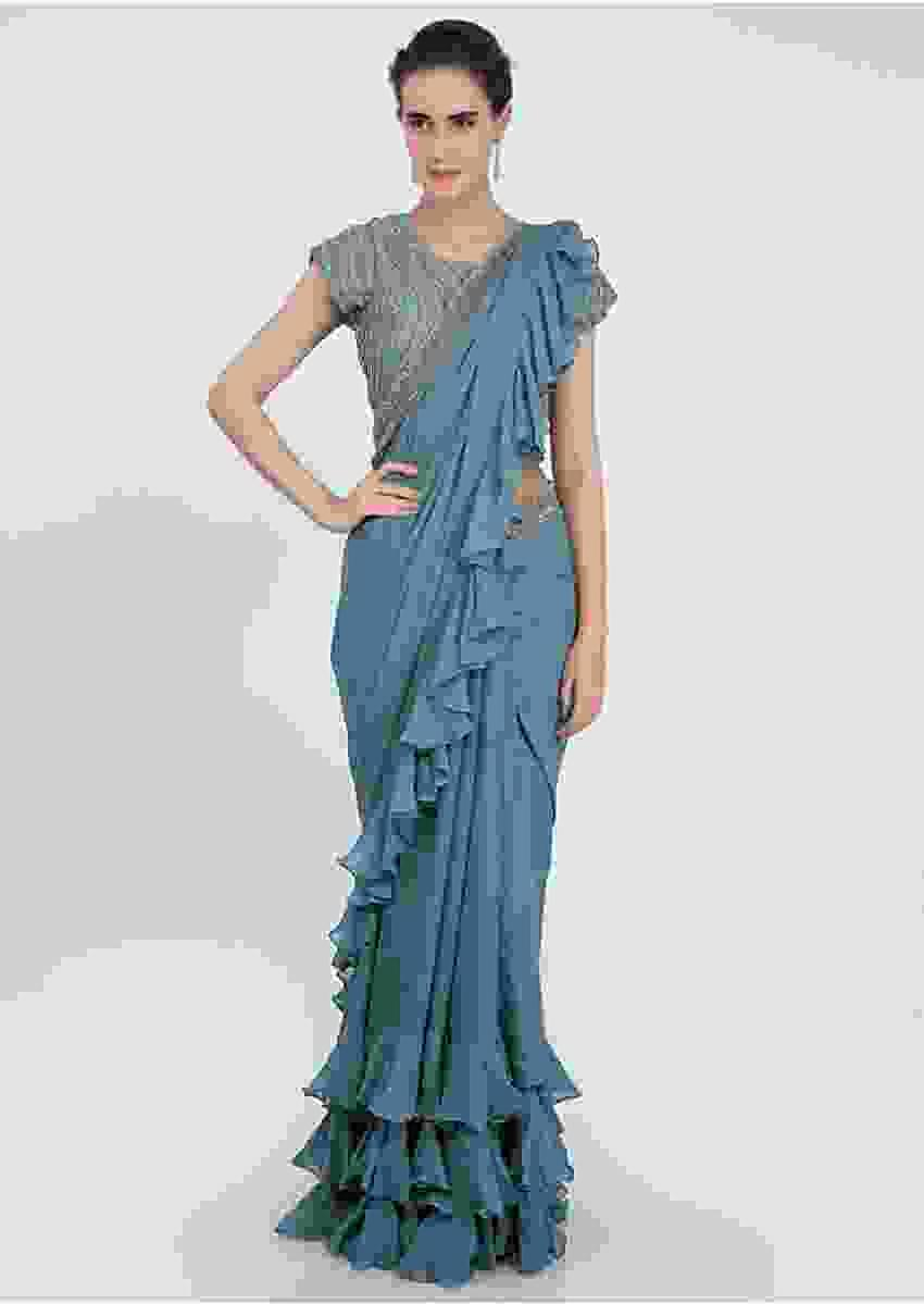 Mineral Alloy Grey Georgette Saree With Ruffles On The Hem And Pallu Online - Kalki Fashion