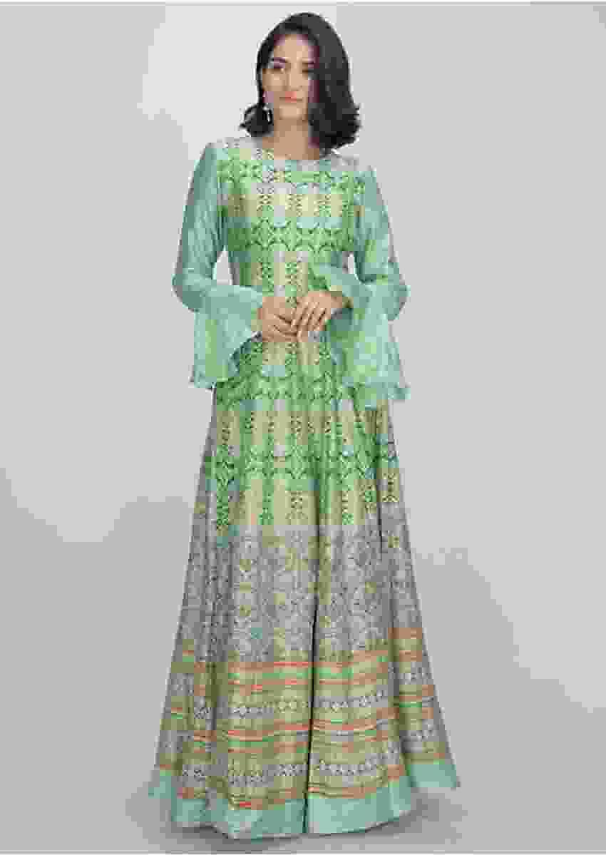 Mint Green Anarkali Suit In Cotton Silk With Patola Print Online - Kalki Fashion