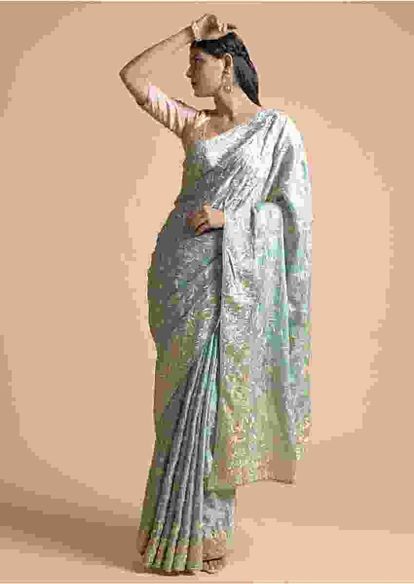 Mint Saree In Faux Silk With Parsi Embroidered Floral Jaal Using Cream Resham Online - Kalki Fashion